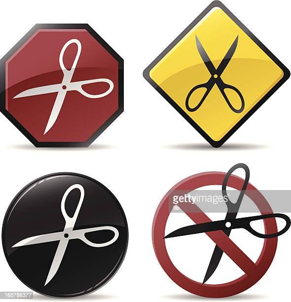 cutting scissors symbols - money out the window stock illustrations, clip art, cartoons, & icons