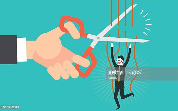 Cutting the strings of a business man puppet