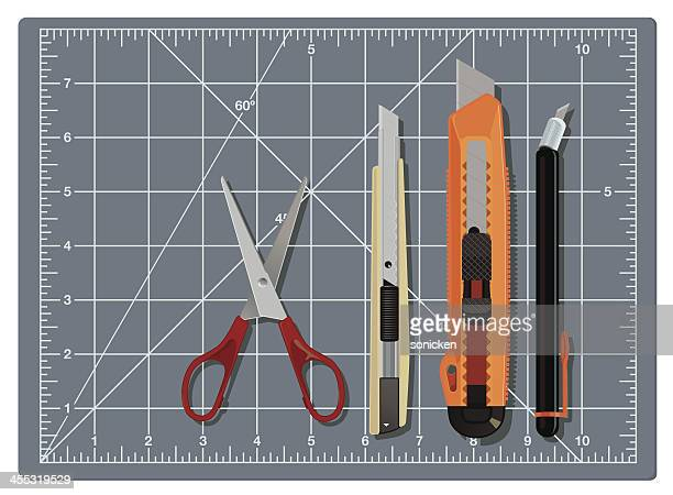 cutting tools collection - inch stock illustrations
