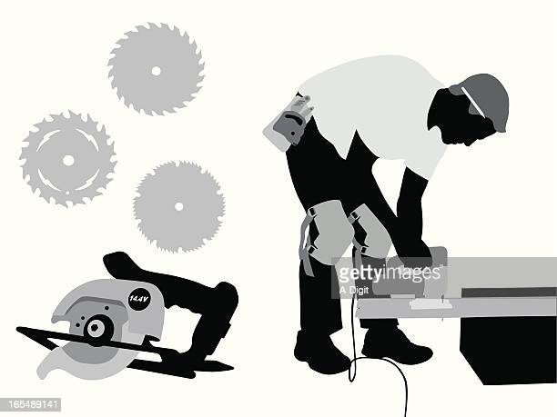 cutting wood vector silhouette - power tool stock illustrations, clip art, cartoons, & icons