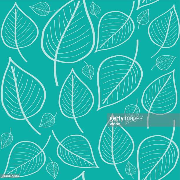 Cyan leaf doodle wallpaper seamless pattern retro design