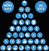 Cyan Pyramid Health and Safety Icon collection