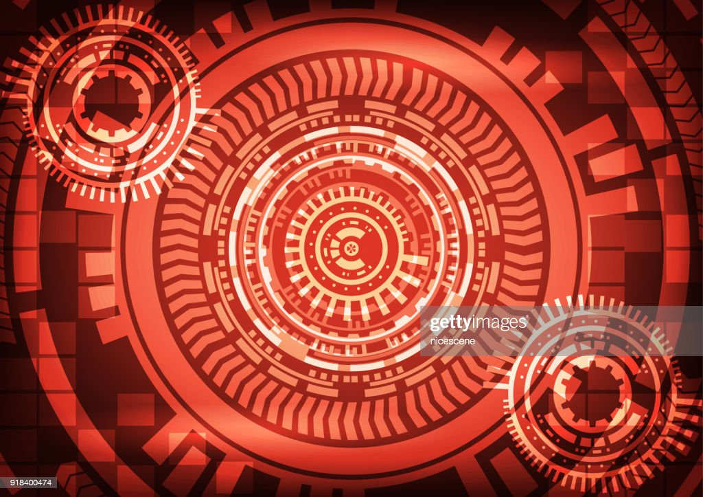 Cyber crime abtract technology red background with gear. Vector illustration cybercrime and cyber security concept.