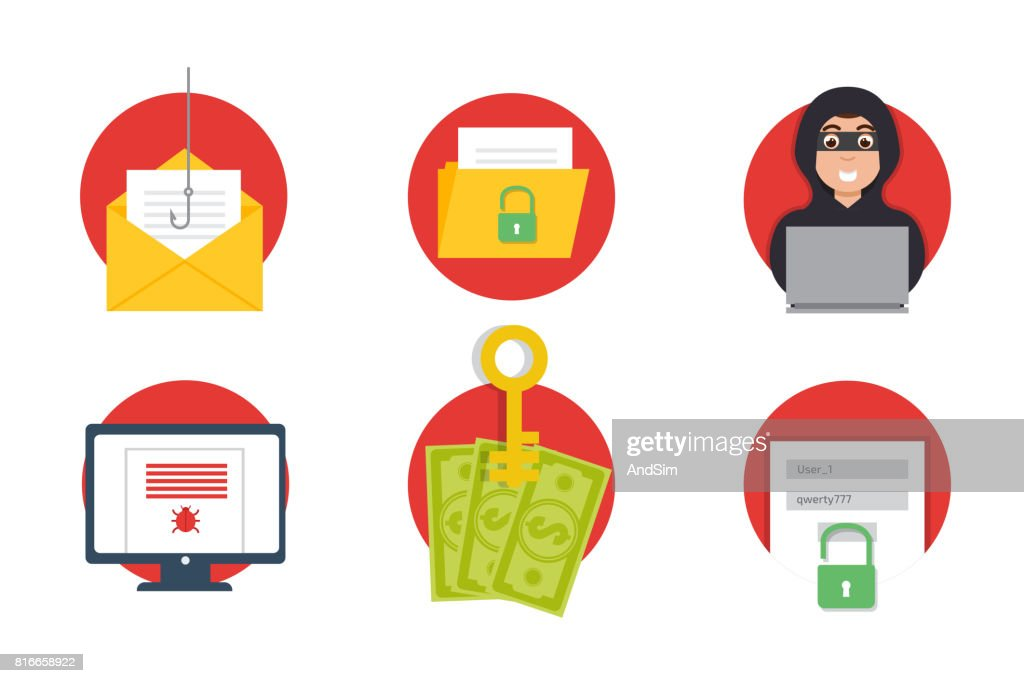 Cyber Crime Hacking icons set. Phishing. Vector illustration.
