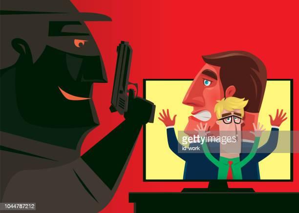 ilustrações de stock, clip art, desenhos animados e ícones de cyber crime via computer - cyberbullying