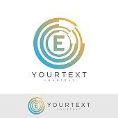 cyber eye initial Letter E icon design