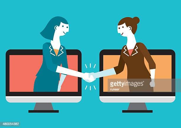 ilustraciones, imágenes clip art, dibujos animados e iconos de stock de cyber handshake & business/nuevo concepto de negocios - negocios finanzas e industria
