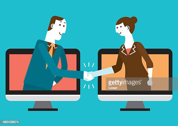 cyber handshake & business | new business concept - video conference stock illustrations
