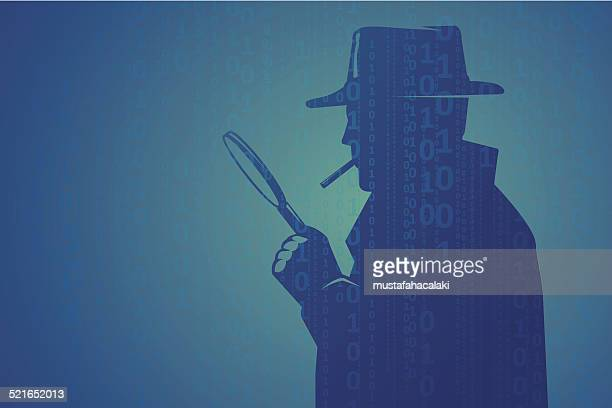 cyber inspector looking through magnifying lens - conspiracy stock illustrations