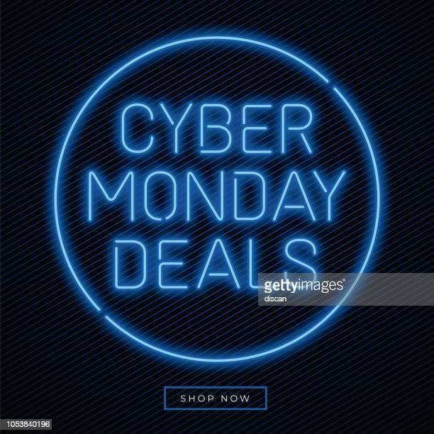 cyber monday banner in fashionable neon style, luminous signboard, nightly advertising advertisement of sales rebates of cyber monday. - cyber monday stock illustrations