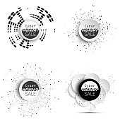 Cyber monday banners set, noir style elements for your design
