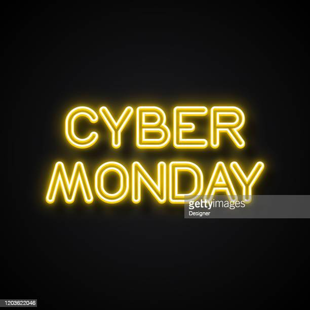 cyber monday neon style, design elements - cyber monday stock illustrations