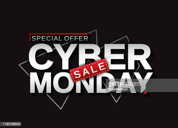 cyber monday sale banner card. vector illustration. - cyber monday stock illustrations
