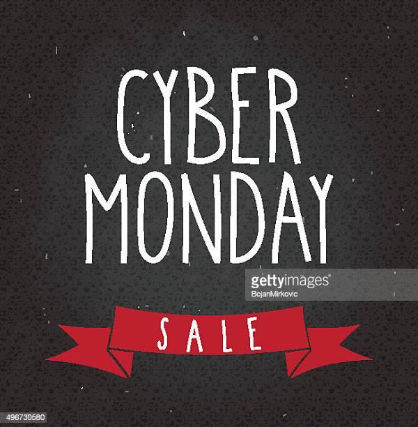 cyber monday sale handwritten text on black chalkboard - cyber monday stock illustrations