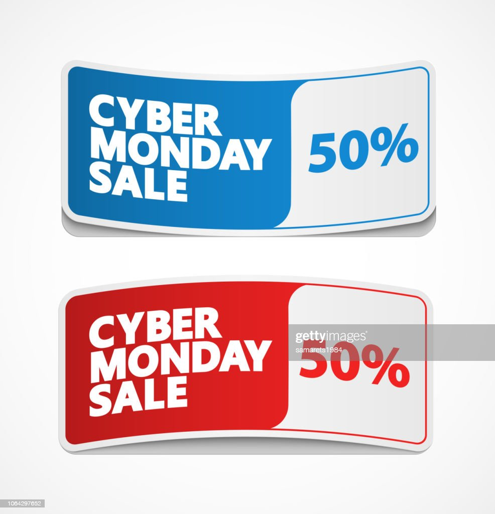 Cyber Monday sale label, sticker and coupon.