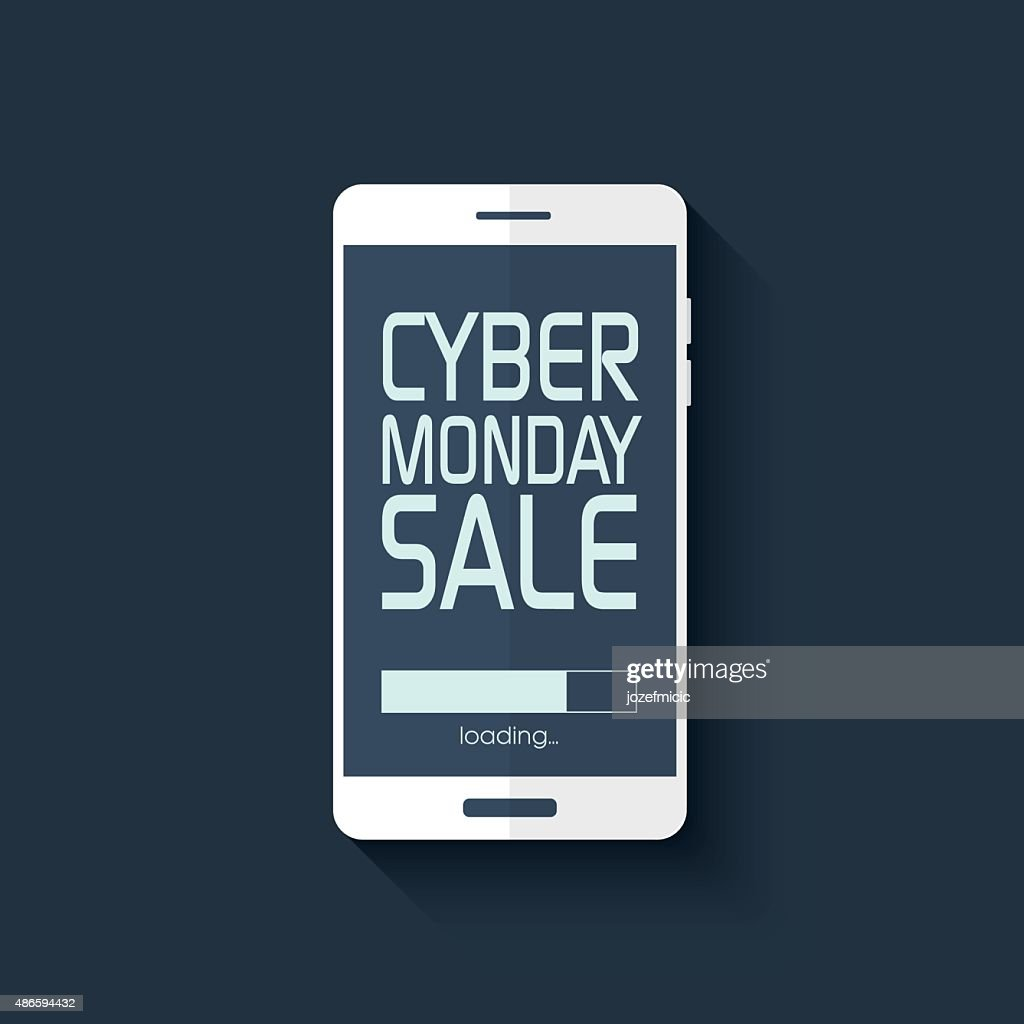 Cyber monday sale poster. Promotional text in smartphone for shopping