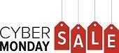 Cyber Monday sale website display with red hang tags promotion