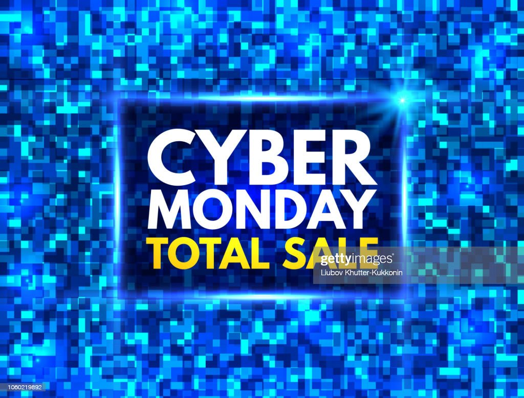 Cyber Monday total sale banner. Bright blue mosaic background with cyber Monday sign. Good deal promotion. Annual sale concept. Techno design for website, poster, banner, card. Vector illustration