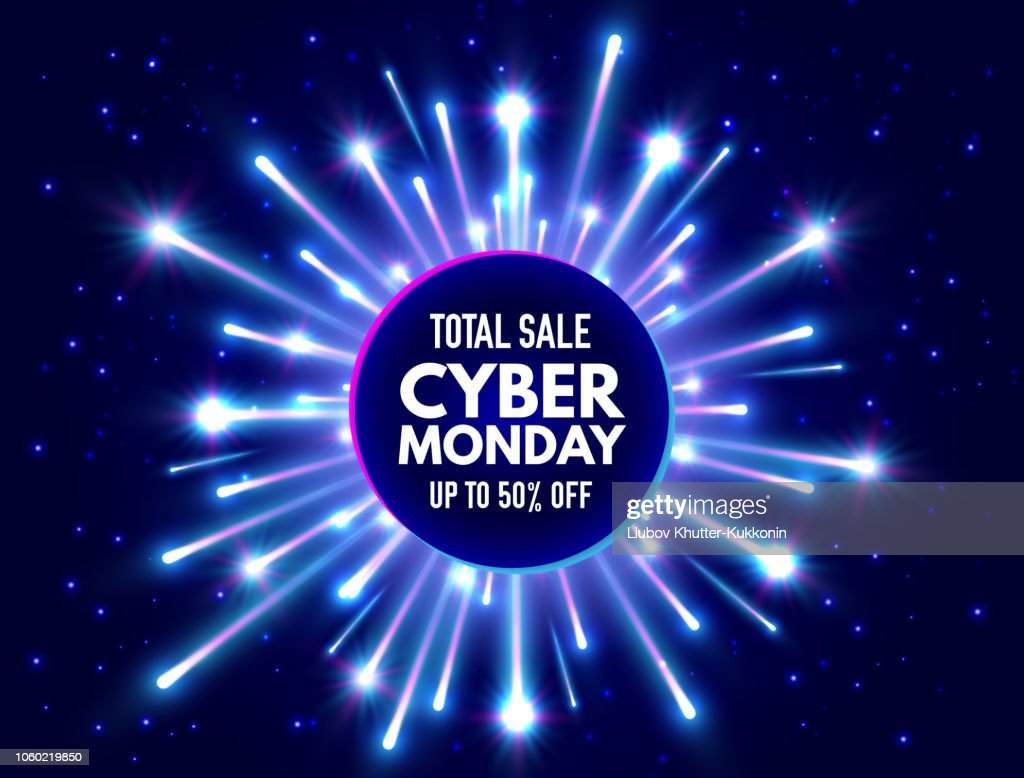 Cyber Monday total sale banner with bright fireworks and sparkles. Blue and violet luminous signboard, nightly advertising. Annual sale background. Good deal promotion. Vector illustration