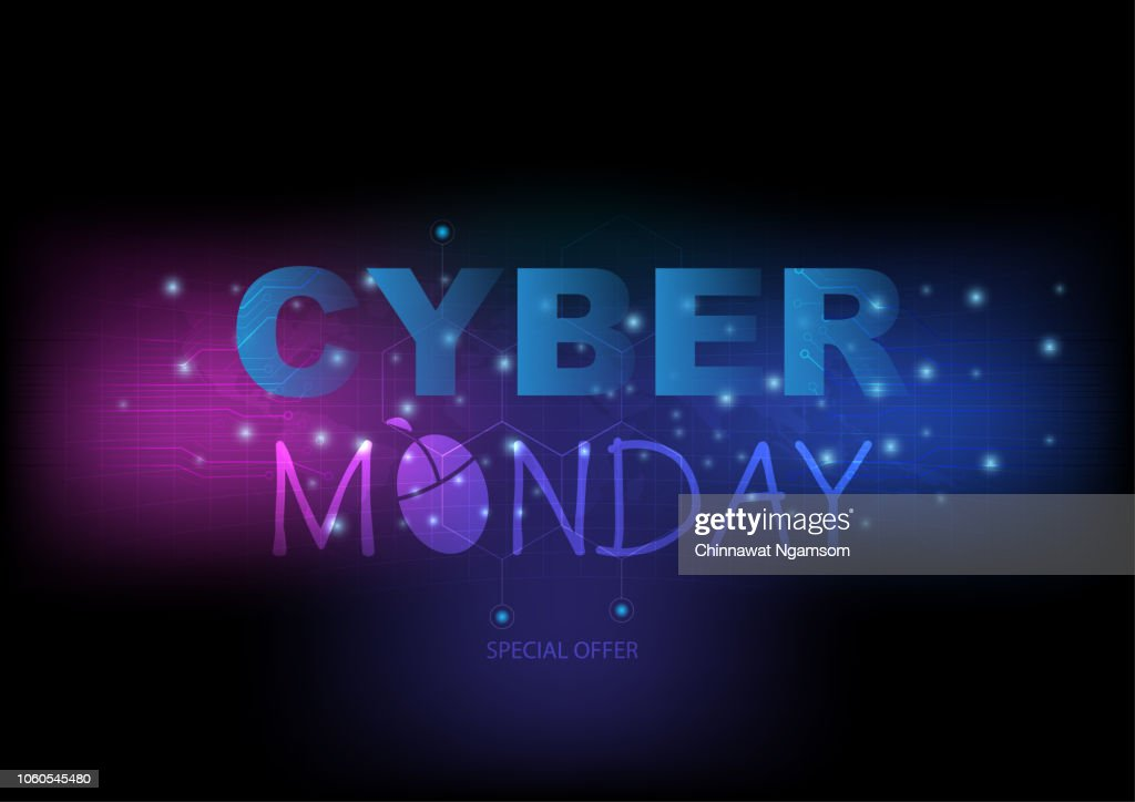 Cyber Monday Wording and mouse clicking with colorful theme. Abstract digital and technology background.