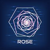 Cyber rose. Neon glow.