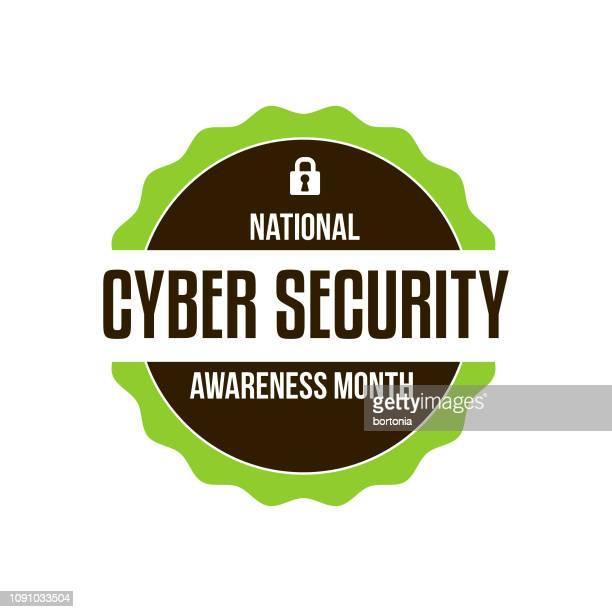 cyber security awareness month - gesellschaftliches symbol stock-grafiken, -clipart, -cartoons und -symbole