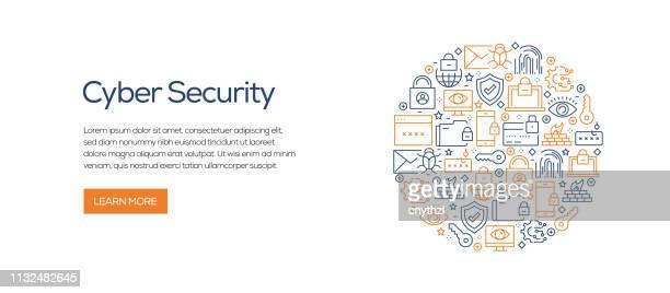 ラインアイコンとサイバーセキュリティバナーテンプレート。広告、ヘッダー、ウェブサイトのための近代的なベクターイラスト。 - ネットワークセキュリティ点のイラスト素材/クリップアート素材/マンガ素材/アイコン素材