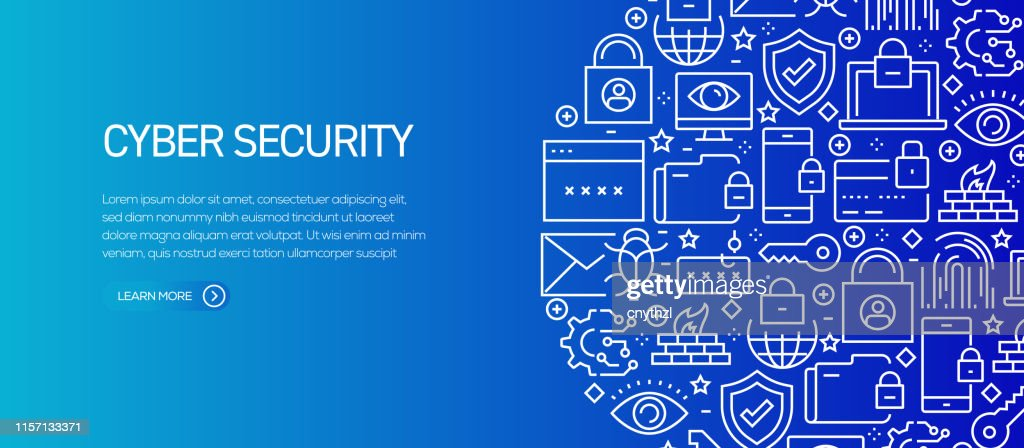 Cyber Security Banner Template with Line Icons. Modern vector illustration for Advertisement, Header, Website. : stock illustration