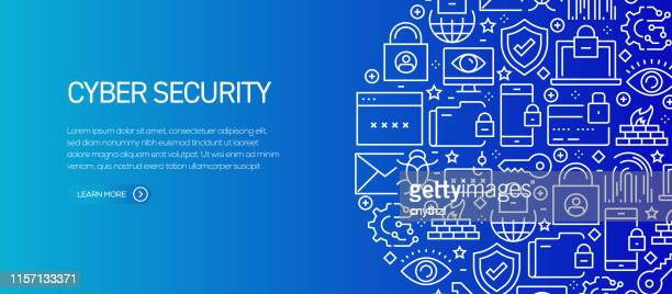 cyber security banner template with line icons. modern vector illustration for advertisement, header, website. - firewall stock illustrations