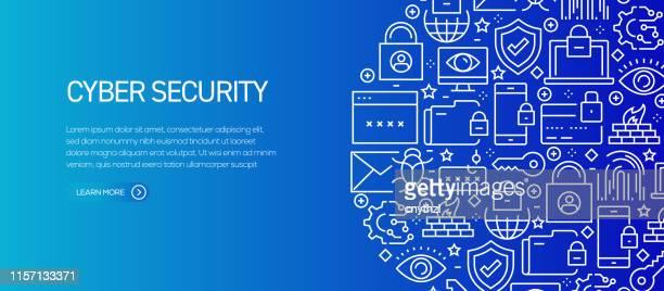 ラインアイコンを持つサイバーセキュリティバナーテンプレート。広告、ヘッダー、ウェブサイトのための現代ベクトルイラスト。 - 保護点のイラスト素材/クリップアート素材/マンガ素材/アイコン素材