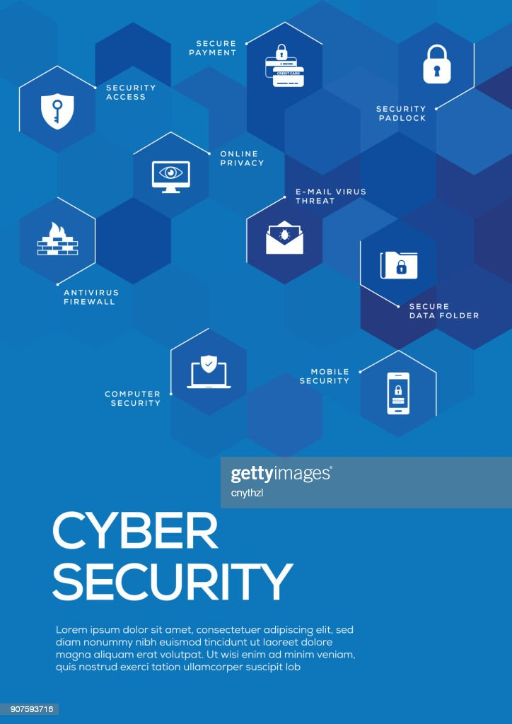 cyber security brochure template layout cover design vector art