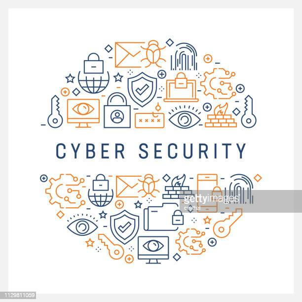 cyber security concept - colorful line icons, arranged in circle - firewall stock illustrations