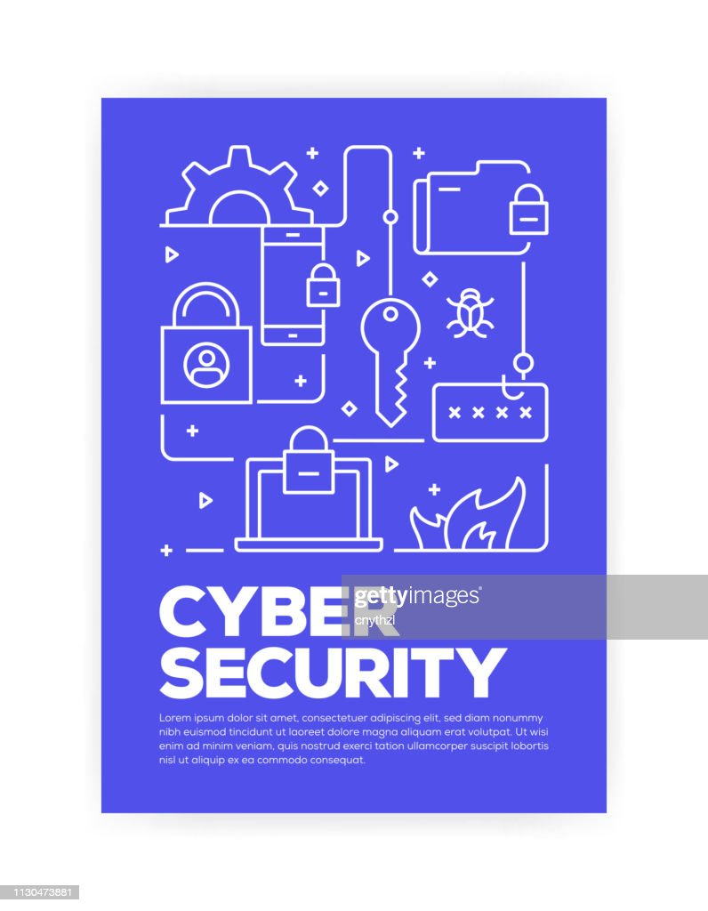 Cyber Security Concept Line Style Cover Design for Annual Report, Flyer, Brochure. : stock illustration