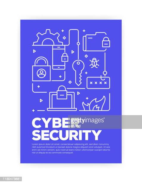 cyber security concept line style cover design for annual report, flyer, brochure. - firewall stock illustrations
