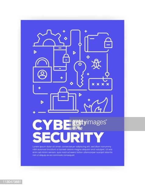 サイバー セキュリティ コンセプト ライン年次報告書、チラシ、パンフレットのカバー デザインをスタイル。 - 保護点のイラスト素材/クリップアート素材/マンガ素材/アイコン素材