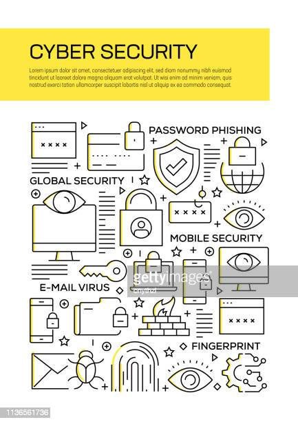 cyber security concept line style cover design for annual report, flyer, brochure. - computer hacker stock illustrations