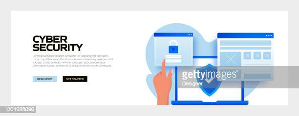 cyber security concept vector illustration for website banner, advertisement and marketing material, online advertising, business presentation etc. - verification stock illustrations