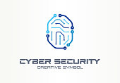 Cyber security creative symbol concept. Digital lock, thumb fingerprint, id access control abstract business pictogram. Circuit, smartphone unlock icon.