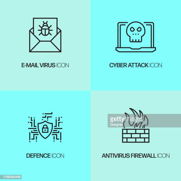cyber security, data security related line icons. vector outline symbol illustration. - antivirus software stock illustrations