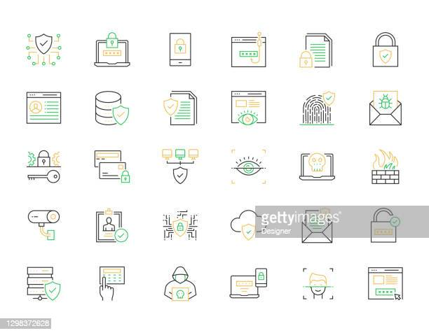cyber security, data security related line icons. vector outline symbol illustration. - verification stock illustrations