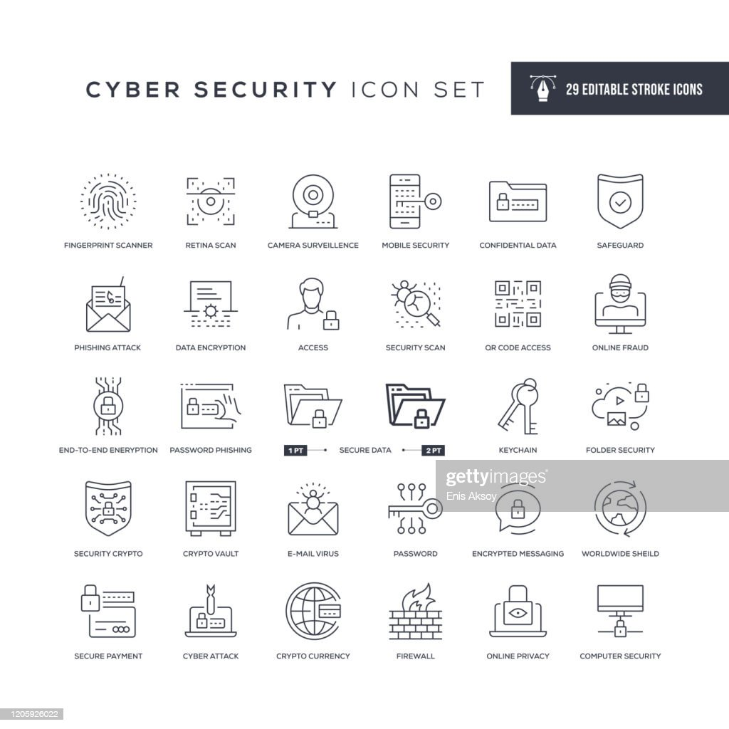 Cyber Security Editable Stroke Line Icons : stock illustration