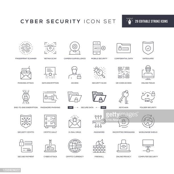 illustrazioni stock, clip art, cartoni animati e icone di tendenza di cyber security editable stroke line icons - sicurezza