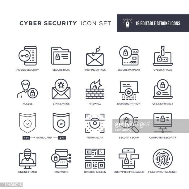 cyber security editable stroke line icons - eye scanner stock illustrations