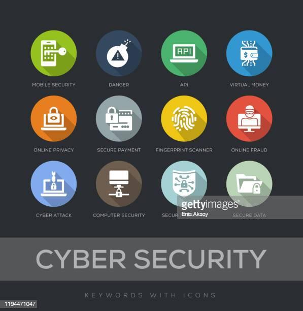cyber security flat design icon set - fingerprint scanner stock illustrations