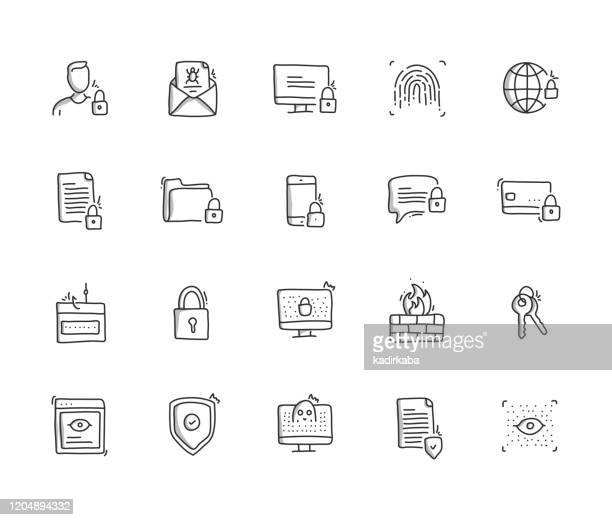cyber security hand draw line icon set - antivirus software stock illustrations