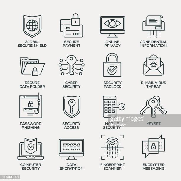 cyber security icon set - line series - information medium stock illustrations