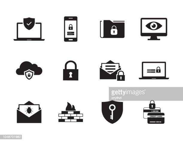 cyber security icon set - password stock illustrations