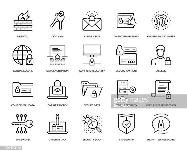 illustrazioni stock, clip art, cartoni animati e icone di tendenza di cyber security icon set - sicurezza