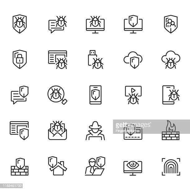 cyber security icon set - computer bug stock illustrations