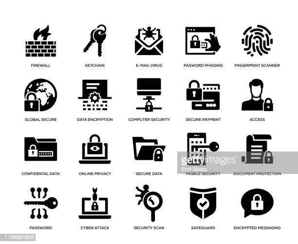 cyber security icon set - threats stock illustrations